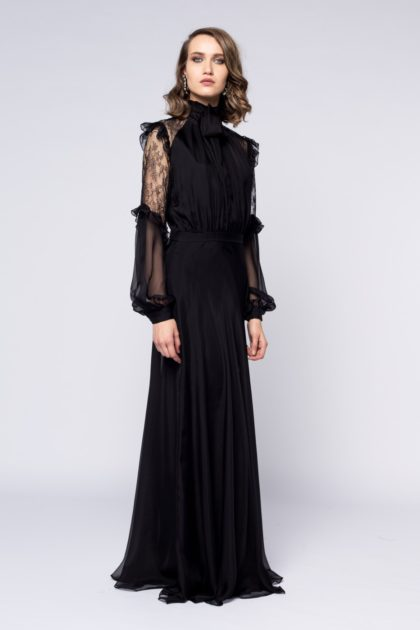 Rochie lunga cu esarfa si dantela