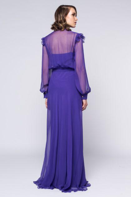 Rochie lunga cu esarfa din voal