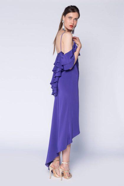 Rochie cu volane pe umeri asimetrica